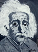 Math Paintings - Albert Einstein by Barbara Giuliano
