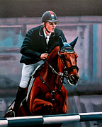 Horse Jumping Paintings - Albert Zoer and Sam by Paul  Meijering