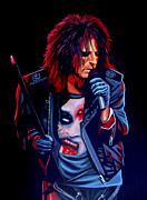 Rock Star Art Paintings - Alice Cooper  by Paul  Meijering