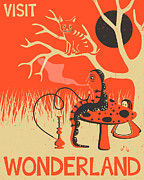 Alice In Wonderland Metal Prints - Alice in Wonderland Travel Poster Metal Print by Jazzberry Blue