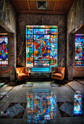 Death Framed Prints - Allegheny Cemetery Mausoleum Stained Glass HDR 1 Framed Print by Amy Cicconi