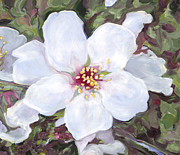 Close Up Painting Metal Prints - Almond blossoms Metal Print by Nurit Shany