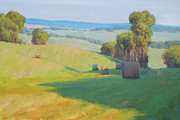 Haybales Painting Prints - Along Rectortown Road Print by Armand Cabrera