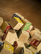 Child Toy Metal Prints - Alphabet Blocks Metal Print by Edward Fielding