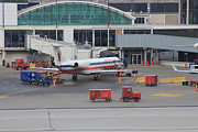 Traffic Control Photo Posters - American Airlines plane at Chicago OHare airport Poster by Ash Sharesomephotos
