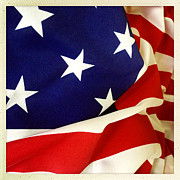 Waving Flag Framed Prints - American flag Framed Print by Les Cunliffe