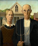 American Gothic - American Gothic by Grant Wood