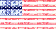 Grime Digital Art Posters - American money flag Poster by Steve Ball