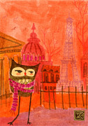 Eiffel Tower Drawings Metal Prints - American Owl in Paris Metal Print by Kate Cosgrove