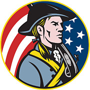 American Patriot Prints - American Patriot Minuteman With Flag Print by Aloysius Patrimonio