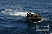 Featured Acrylic Prints - Amphibious Assault Vehicles Transit Acrylic Print by Stocktrek Images