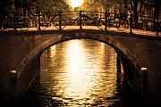 Architectural Structure Posters - Amsterdam Romantic bridge over canal Poster by Michal Bednarek