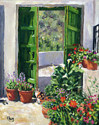 Margaret Merry Framed Prints - an Andalucian Patio Framed Print by Margaret Merry