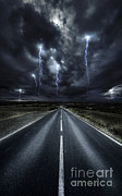 Lightning Bolts Posters - An Asphalt Road With Stormy Sky Above Poster by Evgeny Kuklev