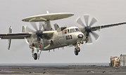 Landing Gear Posters - An E-2c Hawkeye Landing On The Flight Poster by Giovanni Colla