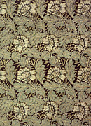 Black  Tapestries - Textiles Prints - Anemone design Print by William Morris