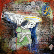 Statue Portrait Mixed Media Prints - Angel and Man Print by Chris Bradley