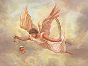 Guardian Angel Painting Posters - Angel Blessing Poster by John Alan  Warford