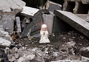 Angels Watching Metal Prints - Angel in the Rubble Metal Print by Sharon Cummings