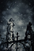 Depressed Photo Posters - Angel statue on graveyard Poster by Nikolina Petolas