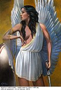Warrior Goddess Paintings - Angel Warrior by Iannis Nikou