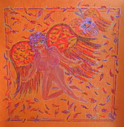 Featured Pastels Posters - Angels Feathers Poster by Lyn Blore Dufty
