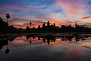 Angkor Art - Angkor Wat at Sunrise Cambodia by Fototrav Print