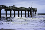 Wood Pylons Photos - Angry Atlantic by Judy Hall-Folde