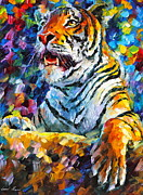Leonid Afremov Art - Angry Tiger by Leonid Afremov