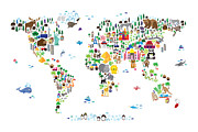 Colourful Framed Prints - Animal Map of the World for children and kids Framed Print by Michael Tompsett