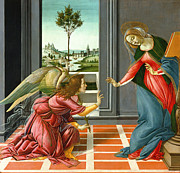 Virgin Mary Framed Prints - Annunciation Framed Print by Sandro Botticelli
