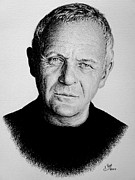 Movie Star Drawings Metal Prints - Anthony Hopkins Metal Print by Andrew Read