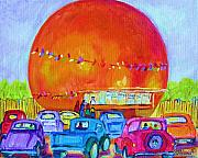 Orange Julep Paintings - Antique Cars at the Julep by Carole Spandau