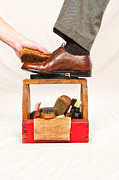 Wooden Ware Framed Prints - Antique shoe shine box and worker Framed Print by Joe Belanger
