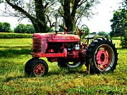 Red Tractors Prints - Antique Tractor  Print by Julie Dant