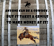 Bucking Bronco Posters - Anyone Can Be A Cowboy Poster by Barbara Snyder