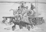 Helicopter Drawings Posters - Apache H-64 Helicopter Poster by Jim Hubbard