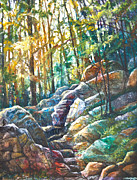 Trail Mixed Media Prints - Appalachian Trail Up Mt. Tammany Print by Patricia Allingham Carlson