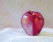 Apple Art Pastels Posters - Apple Poster by Nancy Stutes