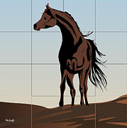 Diving Horse Prints - Arabic horse Print by Roby Marelly