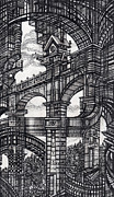 Urban Buildings Drawings Posters - Architectural Utopia 5 fragment Poster by Serge Yudin