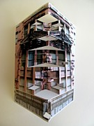 Paper Sculpture Art Sculpture Framed Prints - Architecture Reconstruction Framed Print by Alfred Ng
