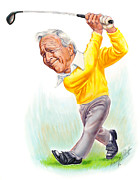Golf Drawings Posters - Arnie Poster by Harry West