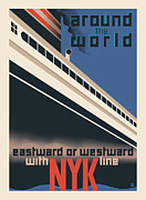 Vintage Typography Digital Art Metal Prints - Around the World Metal Print by Gary Grayson