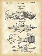 Artificial Lure Posters - Artificial Bait Patent Poster by Stephen Younts
