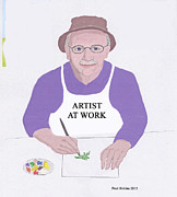 Painter At Work Posters - Artist at Work Poster by Fred Jinkins