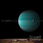 Artists Depiction Of A Ringed Gas Giant Print by Marc Ward