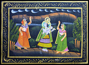 Dancing Tapestries - Textiles Framed Prints - As the God Dances Framed Print by Sivaanan Balachandran