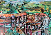 Buildings Art Drawings Framed Prints - Assisi Italy Framed Print by Mindy Newman