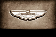 Black And White Photos Prints - Aston Martin Emblem Print by Jill Reger